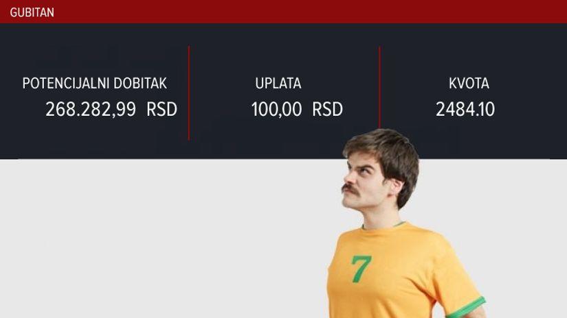 LUDI TIKET (-), subota, 268.283 dinara: Opet taj jedan gol... Bar utešna nagrada zadovoljava