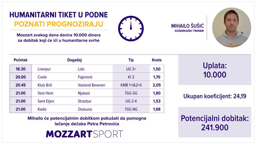 Humanitarni tiket u podne: Mihailo Šušić tipuje za lečenje dečaka Petra Petrovića