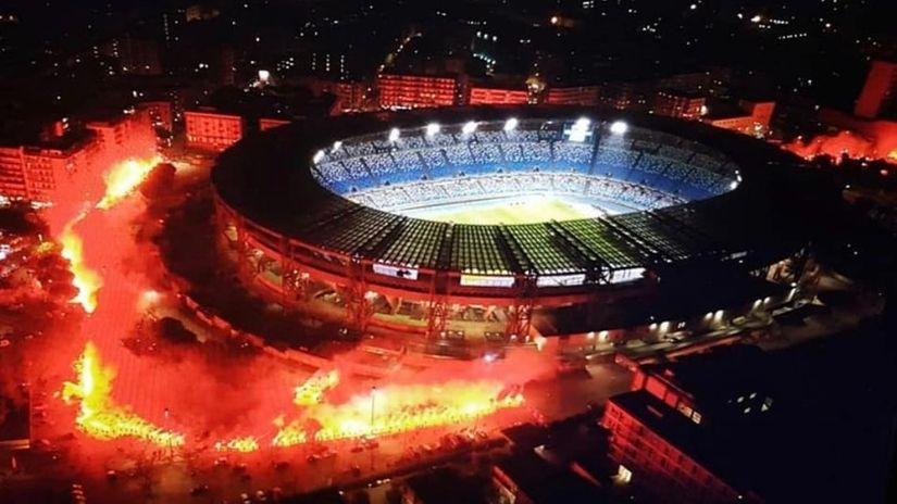 Gori Napulj, ovako večeras izgleda stadion Dijego Armando Maradona (VIDEO)